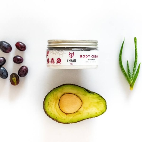 Red grape body cream avocado oil aloe vera extract vegan fox hand made