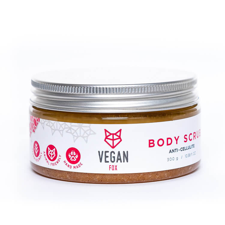 Anti cellulite ginger natural body scrub shea butter avocado oil vegan fox hand made