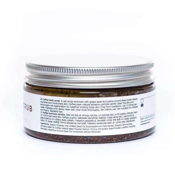 Coffee natural body scrub shea butter jojoba oil vegan fox hand made