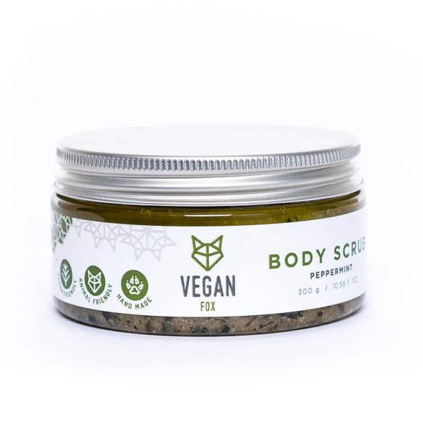 Peppermint natural body scrub shea butter jojoba oil vegan fox hand made