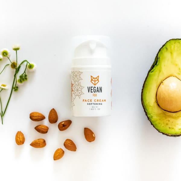 Softening face cream sweet almond oil avocado oil camomile extract vegan fox hand made
