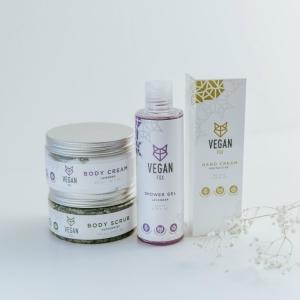 body care bundle hand cream body cream body scrub shower gel vegan fox