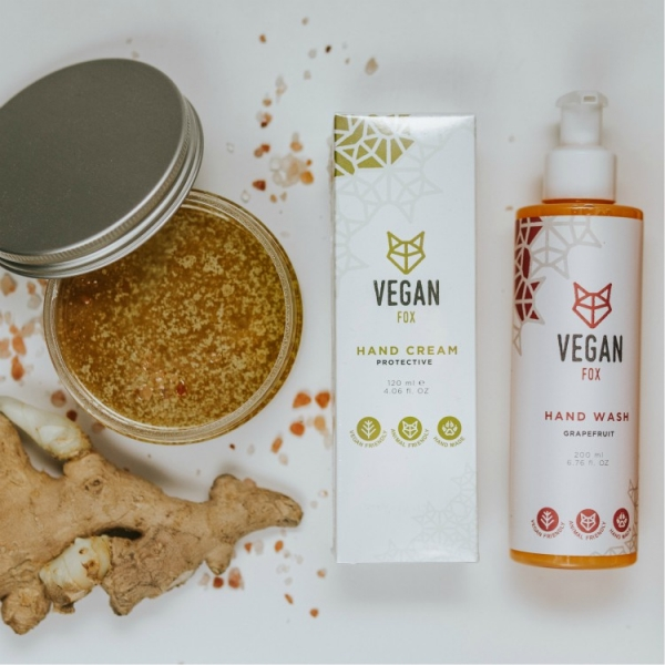hand care bundle hand cream hand wash body scrub vegan fox