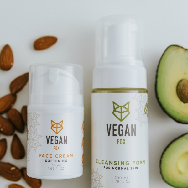 face care bundle for normal skin face cream and cleansing foam vegan fox