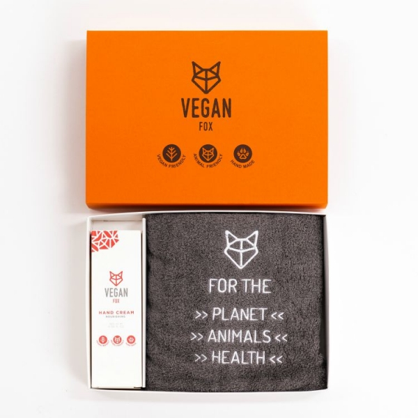 gift box gray cotton towel with hand cream vegan fox
